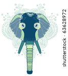 abstract elephant in gas mask t-shirt design - stock vector