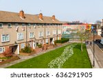 Forecourt of a council housing block in the UK