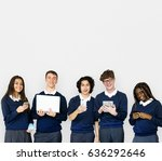 group of diverse students using ... | Shutterstock . vector #636292646