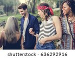 group of diverse friends having ... | Shutterstock . vector #636292916