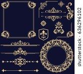 vintage vector set. floral... | Shutterstock .eps vector #636296102