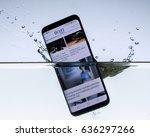 a sleek  modern smartphone with ... | Shutterstock . vector #636297266