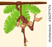 cute monkey chimpanzee hanging  ... | Shutterstock .eps vector #636297476