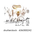 eid mubarak greeting card... | Shutterstock .eps vector #636300242