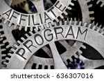 Small photo of Macro photo of tooth wheel mechanism with AFFILIATE PROGRAM letters imprinted on metal surface