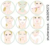 women who do skin care   Shutterstock .eps vector #636309272