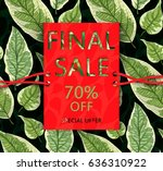 vector  sale flyer with leaves. ... | Shutterstock .eps vector #636310922