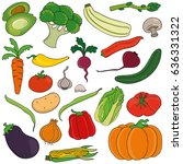 set of vegetables. vector... | Shutterstock .eps vector #636331322