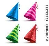 birthday hat vector set with... | Shutterstock .eps vector #636331556