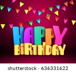 happy birthday 3d vector text... | Shutterstock .eps vector #636331622