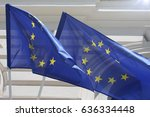 ljubljana city view on eu flags. | Shutterstock . vector #636334448