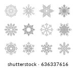 snowflakes outline icons | Shutterstock .eps vector #636337616