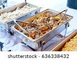 wedding reception buffet food | Shutterstock . vector #636338432