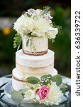cutsom wedding cake at reception | Shutterstock . vector #636339722
