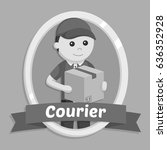 black and white delivery man in ... | Shutterstock .eps vector #636352928