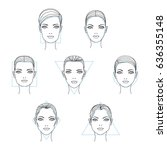 woman face shapes and types.... | Shutterstock .eps vector #636355148