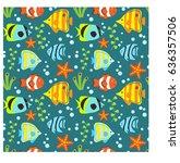 underwater vector abstract... | Shutterstock .eps vector #636357506