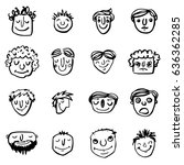 vector icon set of dad faces | Shutterstock .eps vector #636362285