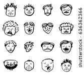vector icon set of dad faces | Shutterstock .eps vector #636362366