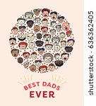 vector icon set of fathers day... | Shutterstock .eps vector #636362405