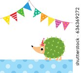 cute porcupine party vector | Shutterstock .eps vector #636369272