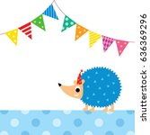 cute porcupine party vector | Shutterstock .eps vector #636369296