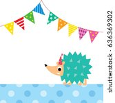 cute porcupine party vector | Shutterstock .eps vector #636369302