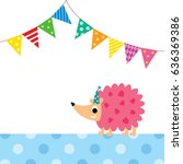 cute porcupine party vector | Shutterstock .eps vector #636369386