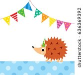 cute porcupine party vector | Shutterstock .eps vector #636369392