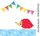 cute porcupine party vector | Shutterstock .eps vector #636369416