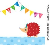 cute porcupine party vector | Shutterstock .eps vector #636369422