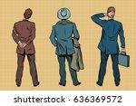 three retro businessman... | Shutterstock .eps vector #636369572