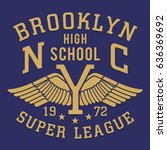 athletic sport brooklyn... | Shutterstock .eps vector #636369692