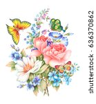 flower and butterfly.hand... | Shutterstock . vector #636370862