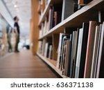 blur people stand book shelf in ...   Shutterstock . vector #636371138