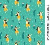 seamless vector hawaii pattern. ... | Shutterstock .eps vector #636381818