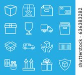 parcel icons set. set of 16... | Shutterstock .eps vector #636383282