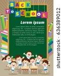 pupils working at desk together ... | Shutterstock .eps vector #636389012