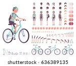 female cyclist on sport bike... | Shutterstock .eps vector #636389135