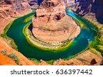 red rock canyon colorado river... | Shutterstock . vector #636397442