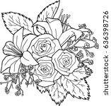 bouquet rose and lily | Shutterstock .eps vector #636398726