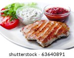 grilled meat isolated on white background - stock photo