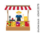 cartoon farmer vegetable seller ...   Shutterstock . vector #636413078