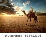 bedouin on camel near pyramids... | Shutterstock . vector #636413105