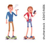 gyroscooter boy and girl riding ... | Shutterstock .eps vector #636414686