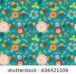seamless pattern. insects and... | Shutterstock .eps vector #636421106