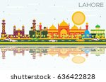lahore skyline with color... | Shutterstock .eps vector #636422828