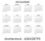 2018 calendar planner design. | Shutterstock .eps vector #636428795