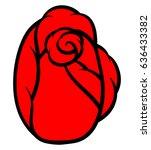 red rose isolated on white... | Shutterstock .eps vector #636433382