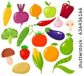 set of fruits and vegetables.... | Shutterstock .eps vector #636436166